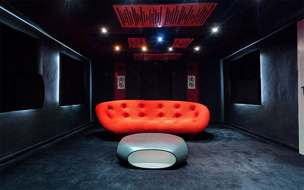 Dark Basement Entertainment Room